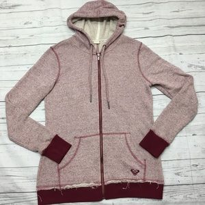 Roxy Zip Up Distressed Hoodie Size: X- Large